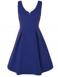 V Neck Fit and Flare Cocktail Dress -
