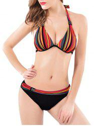 Halter Neck Striped Back Lace Up Bikini Set