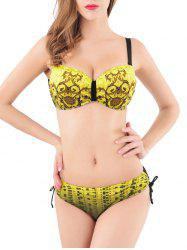 Spaghetti Straps Beaded Ruched Bikini Set