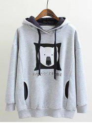 Plus Size Fleece Bear Print Hoodie - GRAY
