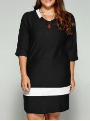 Plus Size Two-Toned Hemming Sleeves Dress - BLACK 5XL