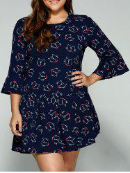 Plus Size Trumpet Sleeves Animal Kitten Print Dress -