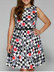 Plus Size Checkered Floral Print Belted Dress - RED 3XL