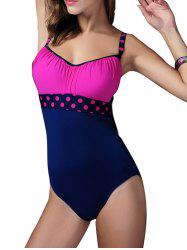 Polka Dot Ruched Hollow Out Swimwear