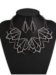 Rhinestone Alloy Geometric Necklace and Earrings