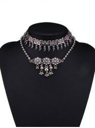 Alloy Rhinestone Teardrop Floral Choker Necklaces -
