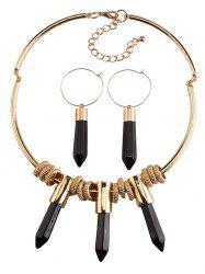 Faux Rammel Bullet Pendant Jewelry Set - BLACK