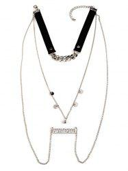 Sequins Always Forever Letters Chain Necklace -