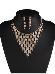Rhinestoned Geometric Hollowed Wedding Jewelry Set - WHITE AND GOLDEN