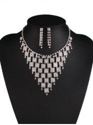 Rhinestoned Geometric Hollowed Wedding Jewelry Set