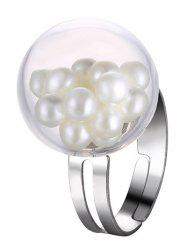 Glass Ball Faux Pearl Engagement Cuff Ring