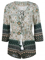 Bohemian Lace-Up Printing Romper -