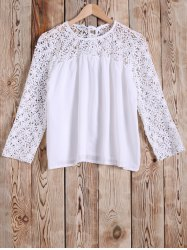 Crochet Lace Splicing Hollow Out Blouse -