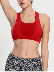 Criss Cross Backless Padded Push Up Sporty Bra - RED