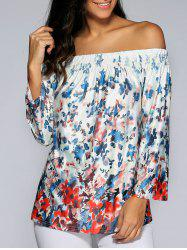 Long Sleeve Off The Shoulder Print Blouse -