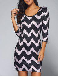 3/4 Sleeve Wave Print Bodycon Dress - BLACK AND PURPLE XL
