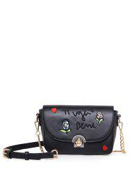 Flowers and Letter Pattern Design Crossbody Bag -