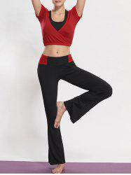 Sporty Bra and Wrap Crop Top and Boot Cut Pants Yoga Set -