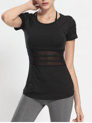 Mesh Panel Long Workout Gym Running T-Shirt - BLACK