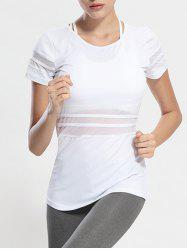 Mesh Panel Long Workout Gym Running T-Shirt - WHITE XL