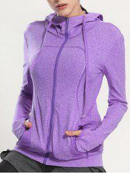Quick Dry Hooded Sporty Coat - PURPLE