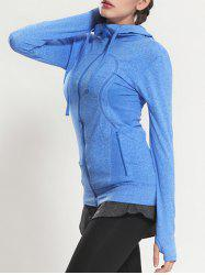 Quick Dry Hooded Sporty Coat - BLUE S