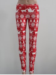 Mid Rise Skinny Festival Leggings - RED/WHITE M