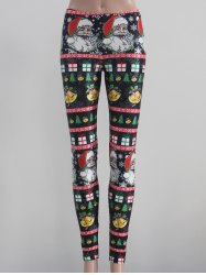 Tight Fit Christmas Leggings - BLACK