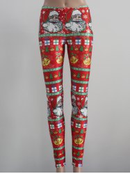 Tight Fit Christmas Leggings - RED L