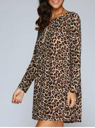 Long Sleeve Leopard Print Shift T-Shirt Dress - LEOPARD
