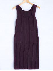 Square Collar Tank Sweater Dress - DEEP PURPLE