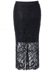 High Waisted Lace Splicing Pencil Skirt -