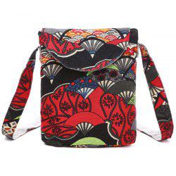 Cotton Floral Print Color Splicing Crossbody Bag