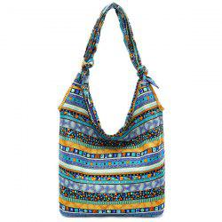 Color Block Geometric Pattern Cotton Fabric Shoulder Bag