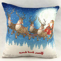 Santa Claus Deers Christmas Double-Faced Pillowcase - LIGHT BLUE