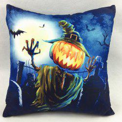 Halloween Scarecrow Pumpkin Double-Faced Pillowcase - DEEP BLUE