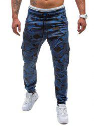 Multi-Pockets Camo Print Army Jogger Pants - BLUE