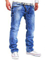Special Zipper Design Straight Leg Loose Jeans - LIGHT BLUE