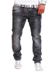 Special Zipper Design Straight Leg Loose Jeans -