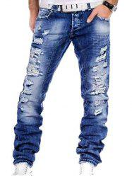 Straight Leg Distressed Jeans - Denim Bleu