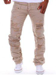 Straight Leg Double-Waist Destroyed Cargo Pants - KHAKI