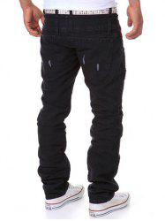 Straight Leg Double-Waist Destroyed Cargo Pants - BLACK