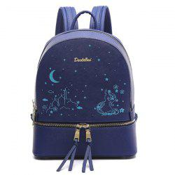 Printed Embroidery Luminous Backpack - BLUE