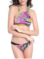 Feather Print High Neck Strappy Bikini - Multicolore