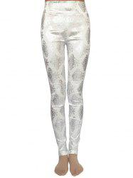 Metallic Ornate Printed Skinny High Waist Leggings -