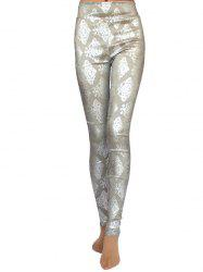 Metallic Ornate Printed Skinny High Waist Leggings - GRAY