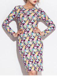 Geometric Print Cut Out Long Sleeve Dress