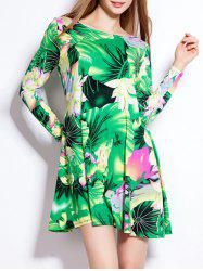 Lotus Leaf Print Long Sleeve Mini Hawaiian Luau Dress