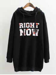 Plus Size Letter Print Long Hoodie -