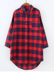Plus Size High Low Checkered Print Shirt - RED 4XL